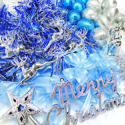 聖誕裝飾配件包組合~藍銀色系 (3尺(90cm)樹適用)(不含聖誕樹)(不含燈) YS-DS03002
