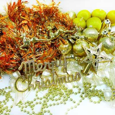 『摩達客冬季生活限定』聖誕裝飾配件包組合~純金色系 (3尺(90cm)樹適用)(不含聖誕樹)(不含燈)
