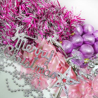 聖誕裝飾配件包組合~銀紫色系 (3尺(90cm)樹適用)(不含聖誕樹)(不含燈) YS-DS03003