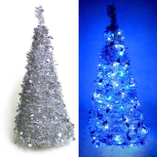 4尺/4呎(120cm) 創意彈簧摺疊聖誕樹 (銀色系)+LED100燈串一條(9光色可選)YS-FTR04302