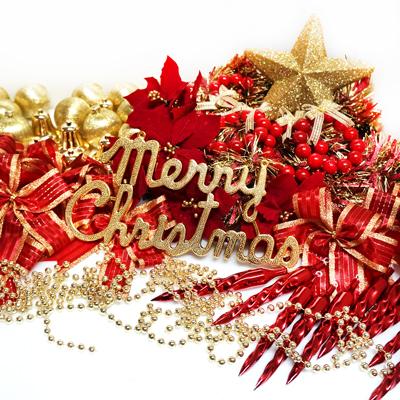 聖誕裝飾配件包組合~紅金色系 (6尺(180cm)樹適用)(不含聖誕樹)(不含燈) YS-DS06001