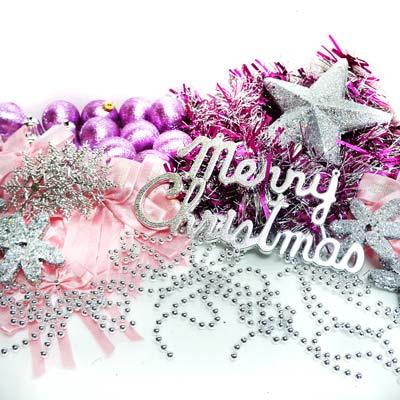 『摩達客冬季生活限定』聖誕裝飾配件包組合~銀紫色系 (7尺(210cm)樹適用)(不含聖誕樹)(不含燈)