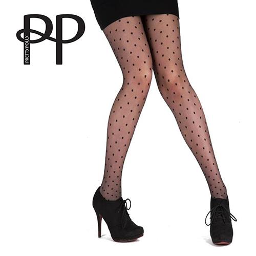 『摩達客』英國進口【Pretty Polly】小圓點設計透明彈性褲襪