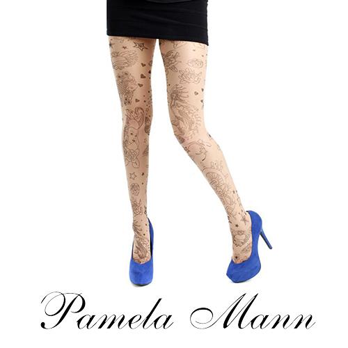 『摩達客』英國進口義大利製【Pamela Mann】刺青效果圖紋印花彈性褲襪