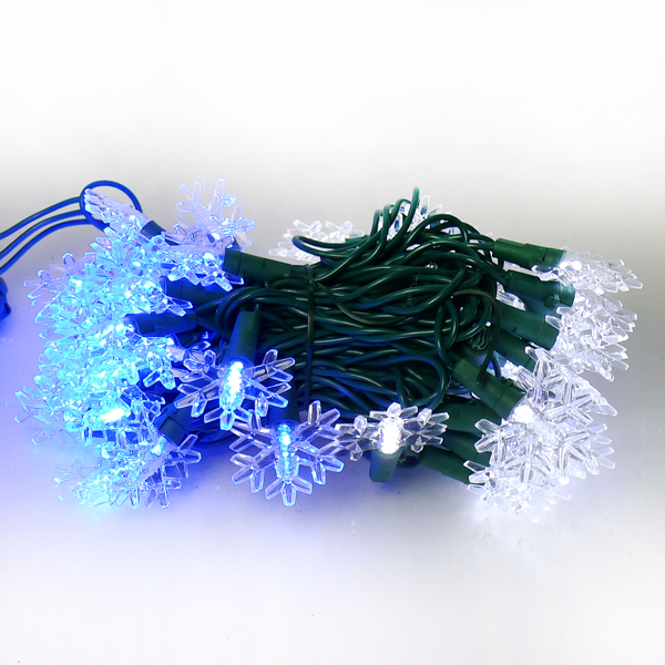 聖誕燈LED燈50燈雪花造型燈(藍白光綠線) (省電高亮度)(附IC控制器跳機)YS-XLP050007