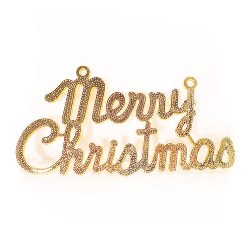 『摩達客』6吋聖誕快樂XMAS英文字牌掛飾(金色)(小)