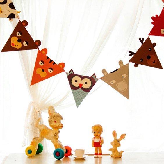 =優生活=韓國可愛動物紙質三角旗裝扮掛飾吊飾 彩旗 三角旗幟 拉花生日派對 兒童房裝 野餐佈置
