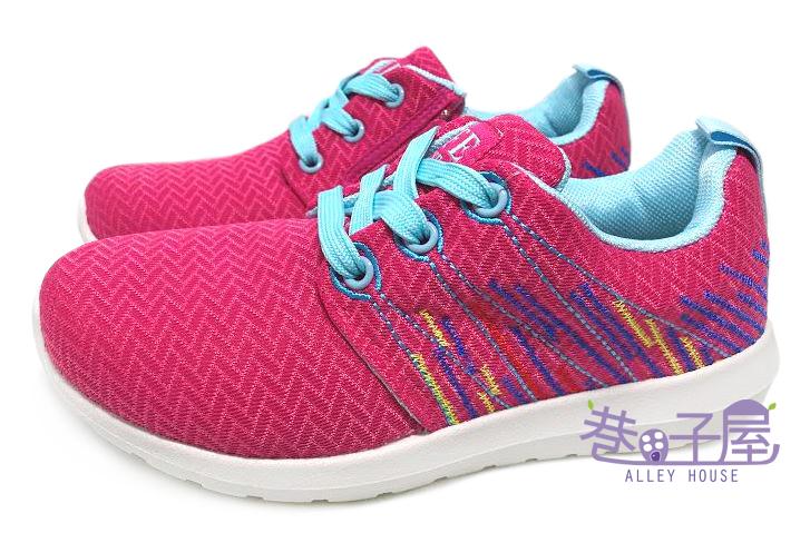 【巷子屋】女童波浪網布繡線運動慢跑鞋 [37074] 桃粉 MIT台灣製造 超值價$198