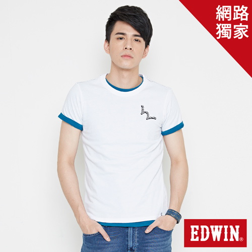 【網路限定款。9折優惠↘】EDWIN 條紋W LOGO 短袖T恤-男款 白色