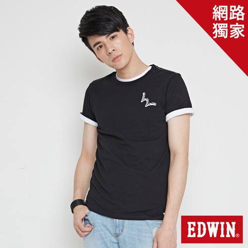 【網路限定款。9折優惠↘】EDWIN 條紋W LOGO 短袖T恤-男款 黑色