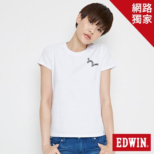 【網路限定款。9折優惠↘】EDWIN 條紋W LOGO 短袖T恤-女款 白色