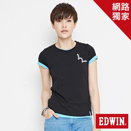 【網路限定款。9折優惠↘】EDWIN 條紋W LOGO 短袖T恤-女款 黑色