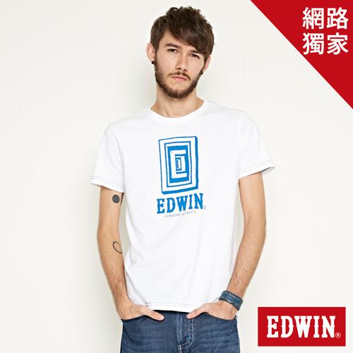 【網路限定款。9折優惠↘】EDWIN 延伸方框LOGO 短袖T恤-男款 白色