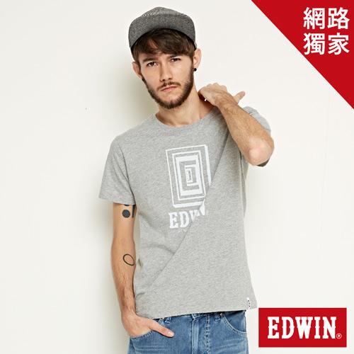 【網路限定款。9折優惠↘】EDWIN 延伸方框LOGO 短袖T恤-男款 麻灰色