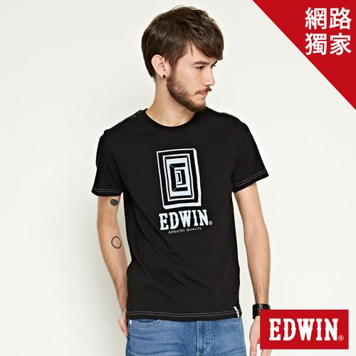 【網路限定款。9折優惠↘】EDWIN 延伸方框LOGO 短袖T恤-男款 黑色
