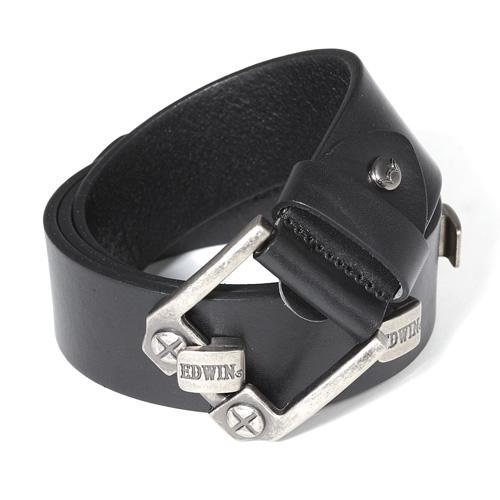 【9折優惠↘】EDWIN 螺絲釘扣式皮帶-男款 黑色