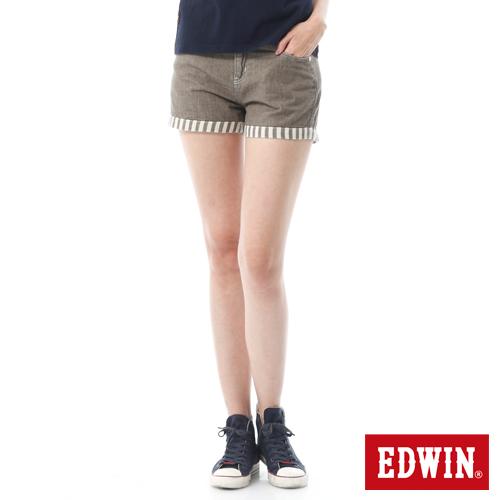 【990元優惠↘】Miss EDWIN 503棉麻條紋反折超短褲-女-咖啡