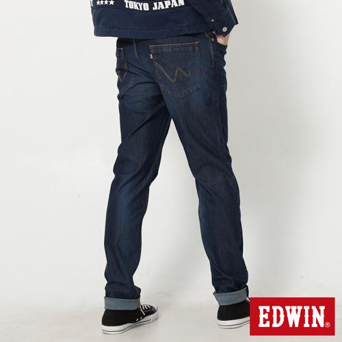 【9折優惠↘】【大尺碼】EDWIN JERSEYS 迦績紅黑賽車格腰頭AB褲-男款 拔洗藍【單筆滿2000結帳輸入 NGNN-SXDL-3YZU-WCH0→現折200元】