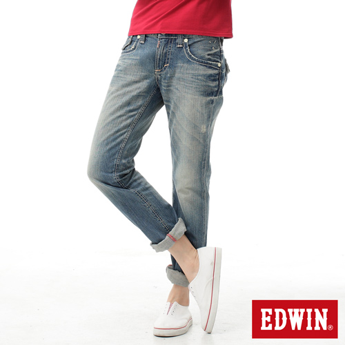 【SUPER SALE。熱銷丹寧888↘】EDWIN BLUE TRIP 503 袋蓋中直筒牛仔褲-女款 輕刷洗復古藍【結帳輸入SS_20161208→現折100元】