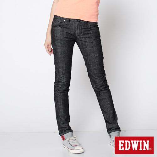 【SUPER SALE。熱銷丹寧888↘】EDWIN Miss 503 BLUE TRIP袋蓋直筒牛仔褲-女款 黑色【結帳輸入SS_20161207→現折100元】