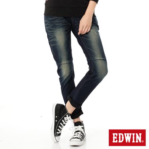 【零碼迦績990↘】【全新進化3D剪裁】Miss EDWIN JERSEYS 迦績圓織3D牛仔褲-女款 酵洗藍