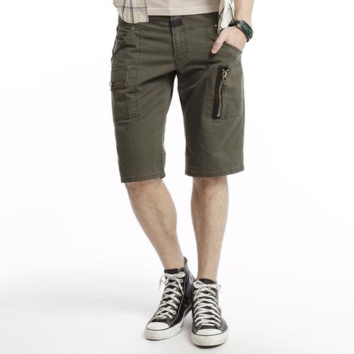 【790元優惠↘】EDWIN 麂皮拉鍊五分短褲 男款 橄欖綠