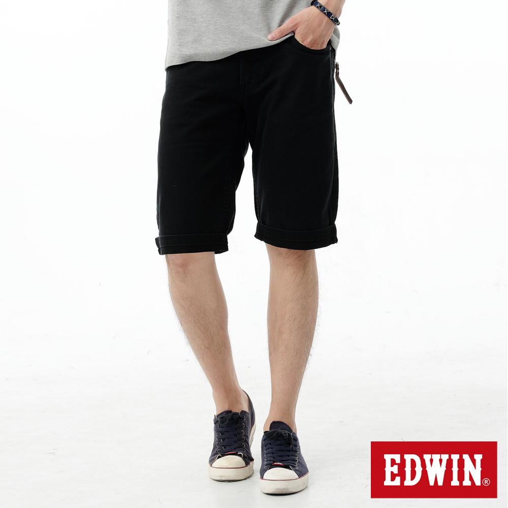 【9/14-9/19 am09:59 連假限定。買一送一↘】EDWIN XV 休閒5分馬褲-男款 黑色