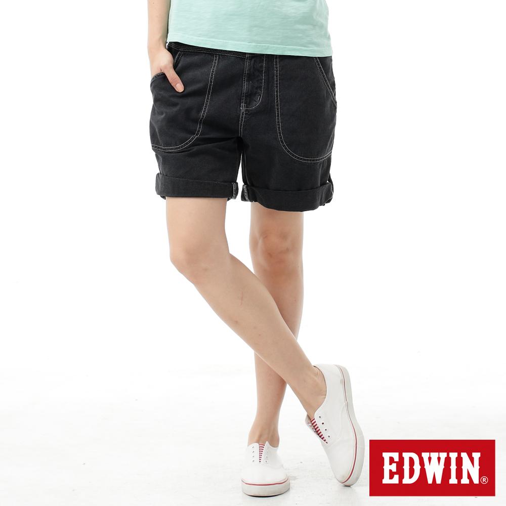 【790元優惠↘】Miss EDWIN EASY PANTS 反折5分色褲-女款 黑色