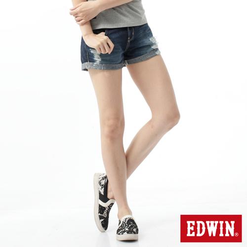 【790元優惠↘ 】Miss EDWIN 503磨破牛仔超短褲-女款 原藍磨