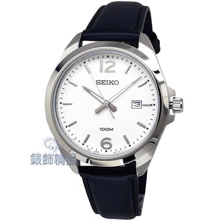 【錶飾精品】SEIKO手錶 精工表 品味卓越 SUR213P1 白面直線條紋 日期 黑色皮帶男錶 全新原廠正品 情人生日禮物