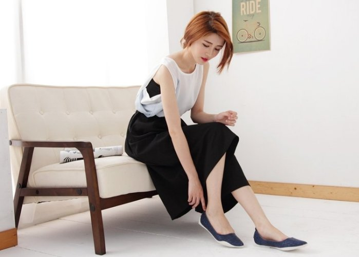 Pyf ♥ 韓版獨家訂製 超舒適軟膠底 基本款深藍色編織 氣質百搭 平底鞋 寬楦 40-42大尺碼女鞋