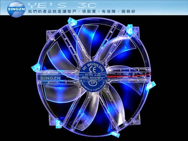 「YEs 3C」全新 機殼側板用 22cm 透明5藍燈LED+大風扇4pin yes3c