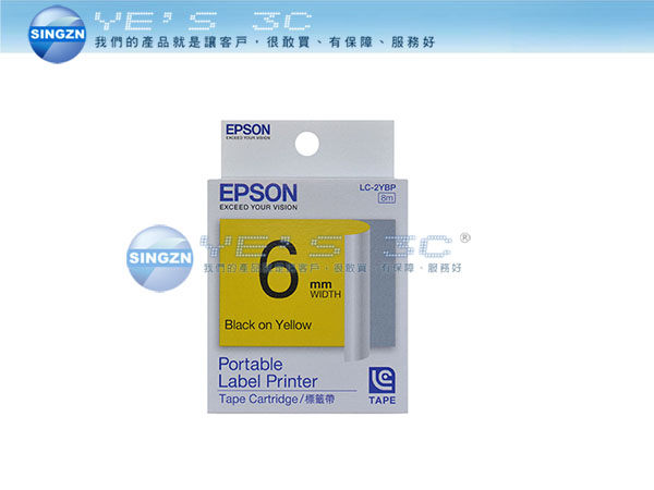 「YEs 3C」EPSON 愛普生 LC-2YBP 標籤帶 C53S623003 粉彩系列 6mm LW-500/LW-700 黃底黑字