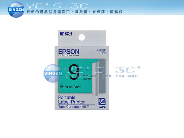 「YEs 3C」EPSON 愛普生 LK-3GBP 標籤帶 C53S653405 粉彩系列 綠底黑字 9mm LW-500/LW-700