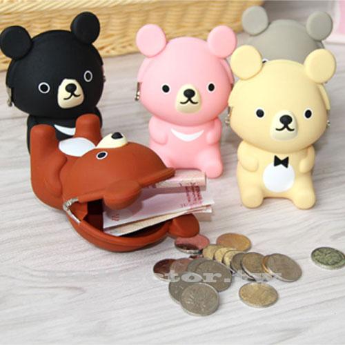 【F16101403】超萌新款可愛立體小熊矽膠零錢包 大容量防水立體造型零錢包
