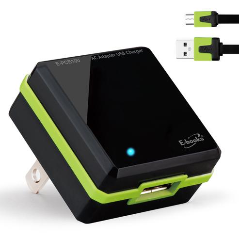 【迪特軍3C 商檢認證】E-books B9 AC轉USB快速充電傳輸組-黑 5V/1.5A USB充電器 國際電壓