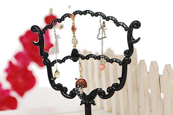 BO雜貨【YV2334】復古雕花 扇形雙層耳環架 首飾架 首飾收納 店頭展示架