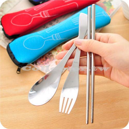 【N15052801】環保不銹鋼三件套餐具組 戶外便攜式餐具 筷勺叉 三件套