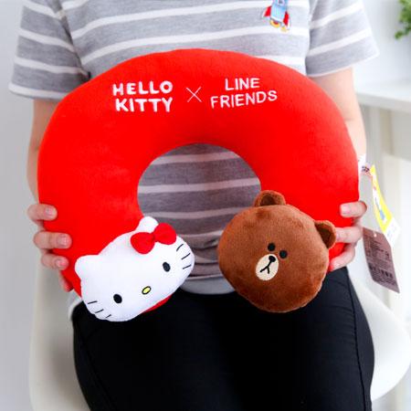 正版 Kitty x LINE 聯名U型頸枕 午安枕 午睡枕 抱枕 枕頭 靠墊 熊大 凱蒂貓【B062225】