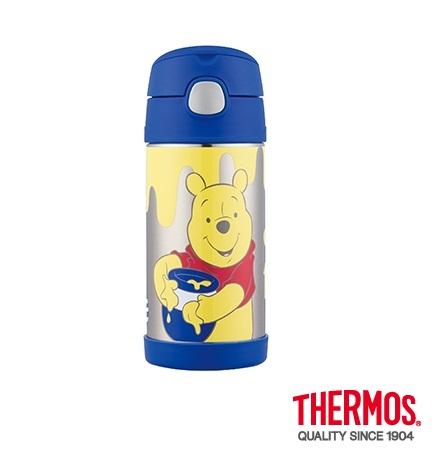 【安琪兒】日本【Thermos】不銹鋼真空吸管瓶(附水壺袋)-小熊維尼