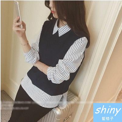 【V0173】shiny藍格子-極簡基調.假兩件拼接設計長袖上衣