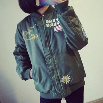 空軍夾克 MA1外套(單件)-刺繡徽章棒球服直筒男女外套72av13【獨家進口】【米蘭精品】