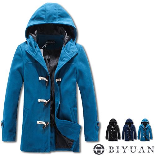 長版鋪棉外套【HK3415】OBI YUAN韓版牛角扣毛呢保暖連帽外套 共3色