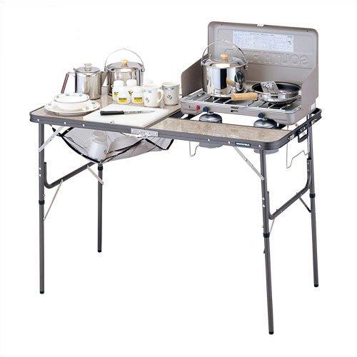 【露營趣】中和 日本 SOUTH FIELD 7310013903 120野營行動廚房 料理桌 雙口爐架 摺疊桌
