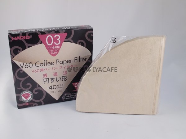 《愛鴨咖啡》Hario VCF-03-40M 無漂白 咖啡 濾紙 4-7杯用 40枚/包
