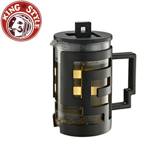金時代書香咖啡 Tiamo 幾何圖文法式濾壓壺 800cc 黑色