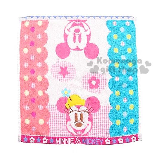 〔小禮堂〕迪士尼 米奇米妮 日本內野Uchino方形毛巾《藍粉紅.大臉.點點.星星.花》34x35cm