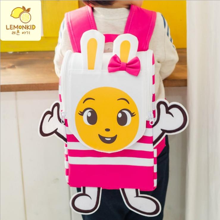 Lemonkid◆可愛立體抗壓條紋動物猴子兔子兒童書包雙肩包後背包-小兔