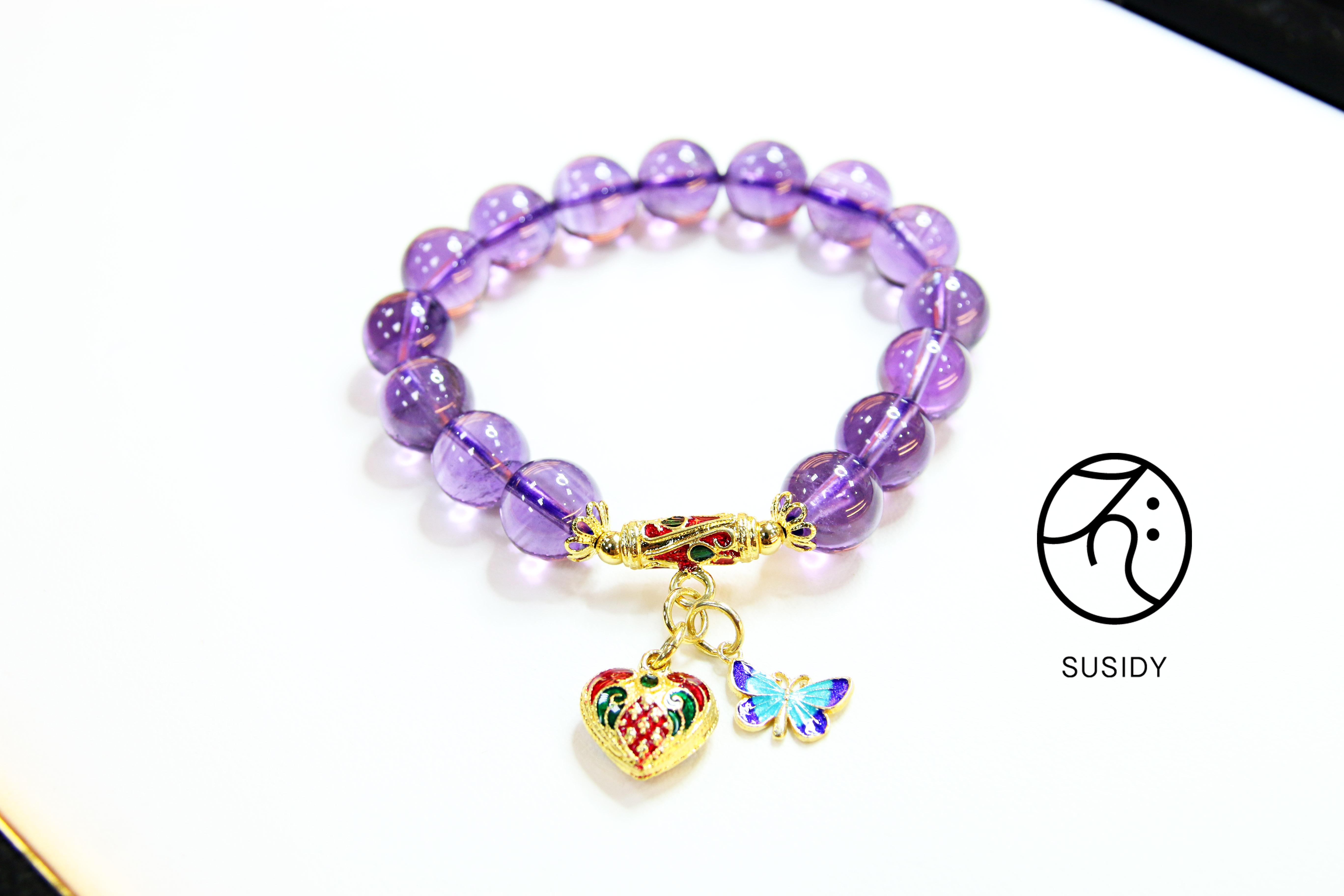 SusidyDesign -  紫骨幹水晶 手珠銀飾