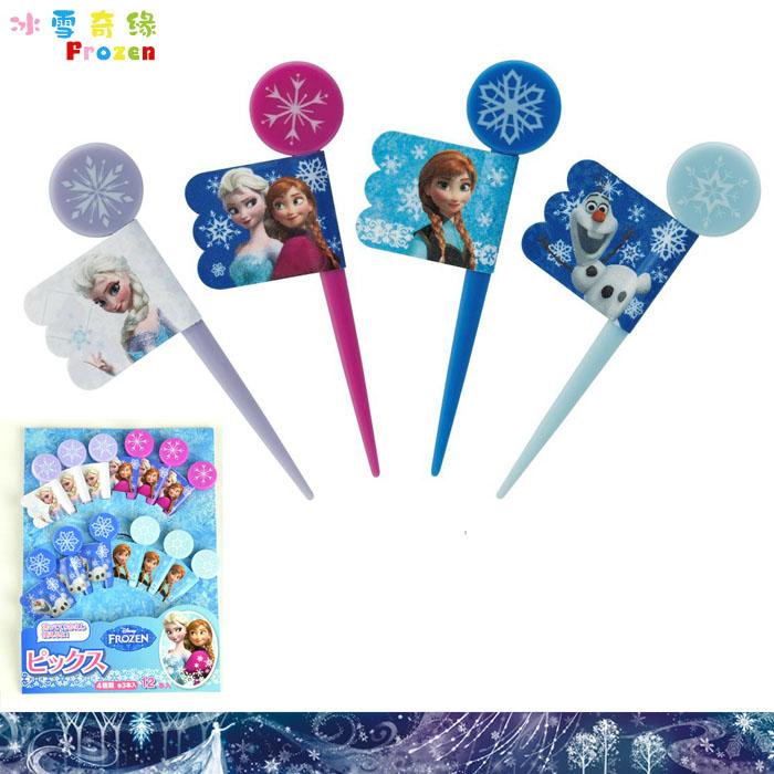 大田倉 日本進口正版迪士尼Disney FROZEN 冰雪奇緣 水果叉12入三明治叉 便當 278617